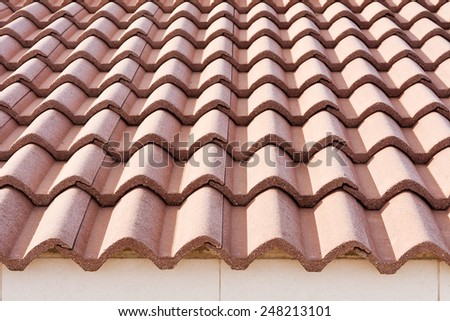 Red tile roof - stock photo