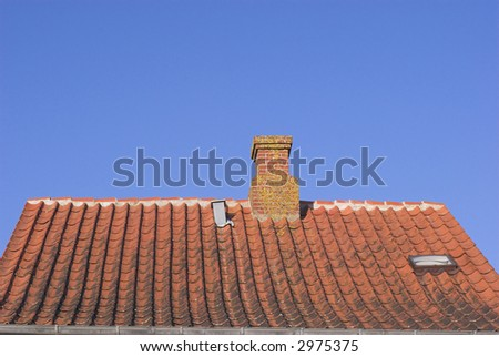 Red Tile Roof Sky Blue#1 - stock photo