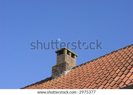 Red Tile Roof Sky Blue#3 - stock photo