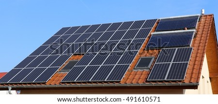 Red tile Roof with solar panels