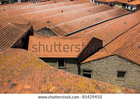 red tiled roofs in Porto, Portugal - stock photo