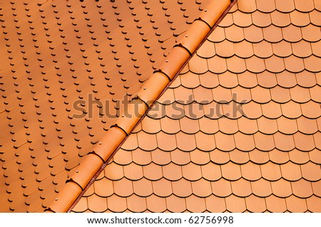 red tiles roof background - stock photo
