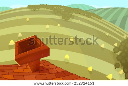 Red tiles roof with a chimney and round hills in the background. Cartoon stylish raster illustration.