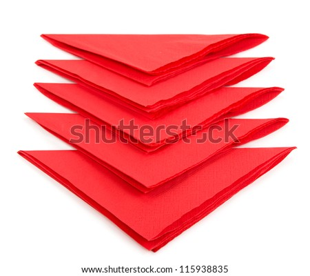 red tissue paper isolated on white background - stock photo