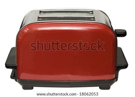 Red toaster isolated on white with clipping path - stock photo