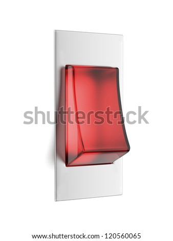 Red toggle  isolated on white background - stock photo