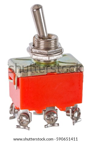 Red toggle switch isolated on a white background