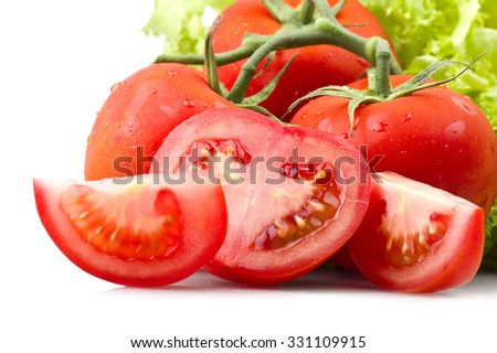 Red tomato and drops water close up - stock photo