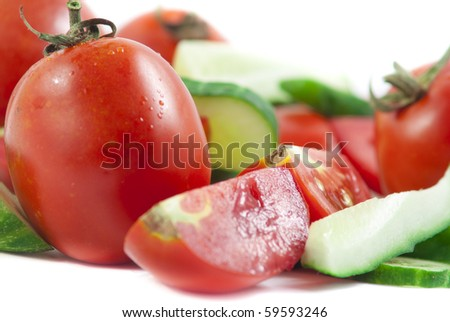 red tomato and green cucumber