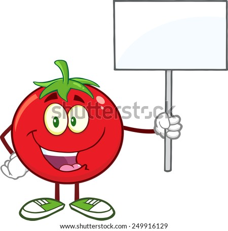 Red Tomato Cartoon Mascot Character Holding Up A Blank Sign. Raster Illustration Isolated On White - stock photo