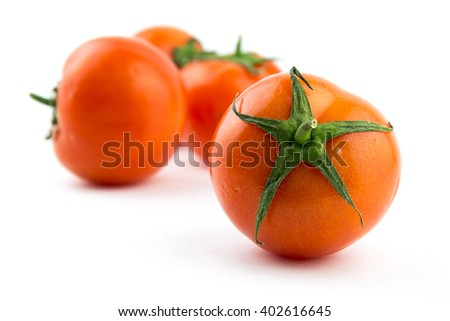 Red tomato isolated on white background / Tomato branch / seamless perfect close-up studio clipping object / market fresh natural diet food / cherry tomatoes