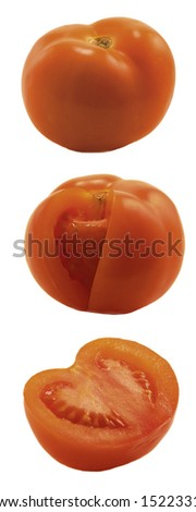 Red tomato on white background. Close-up.Isolated object.