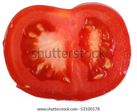 Red tomato slice . Isolated over white background .