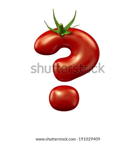 Red tomato symbol ? on a white background, isolated - stock photo