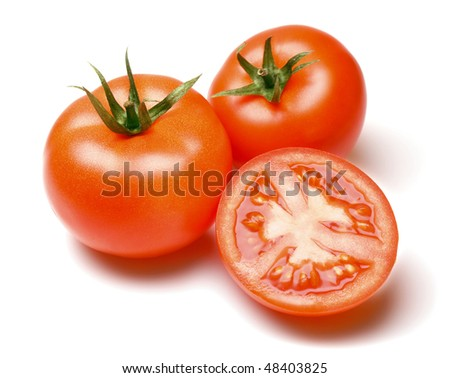red tomato vegetable with cut isolated on white background - stock photo