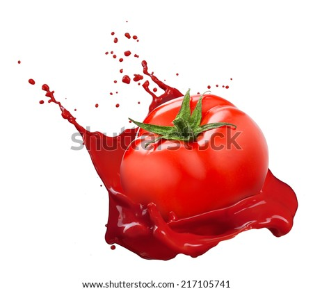 Red tomato with juice splash isolated on white background - stock photo