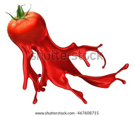 Red tomato with pait splash isolated on white background