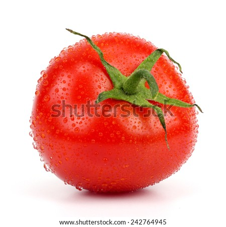 Red tomato with water drops isolated on white - stock photo