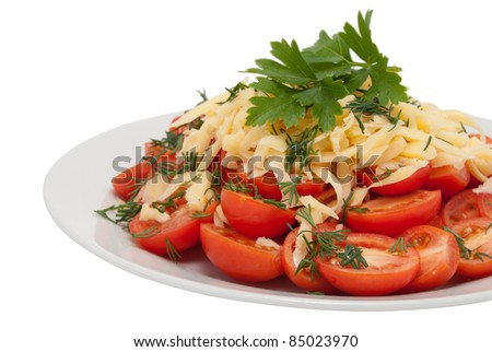 Red tomatoes from above are strewed by grated cheese - stock photo