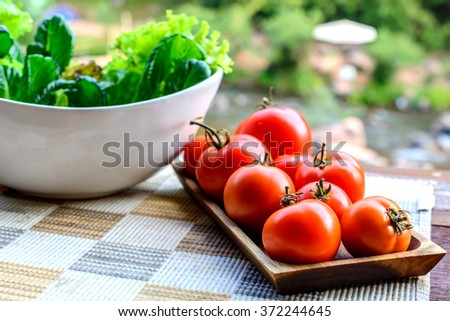 Red tomatoes in wooden tray and Green vegetable in white bowl.River as a background