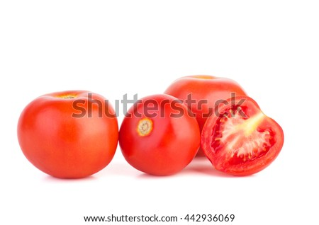 Red tomatoes isolated on white background - stock photo