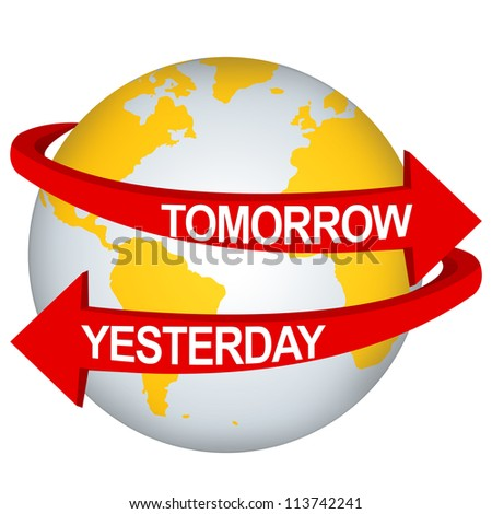 Red Tomorrow And Yesterday Arrow Around The Yellow Earth For Time Management Direction Concept Isolate on White Background