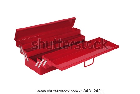 red tool box - stock photo