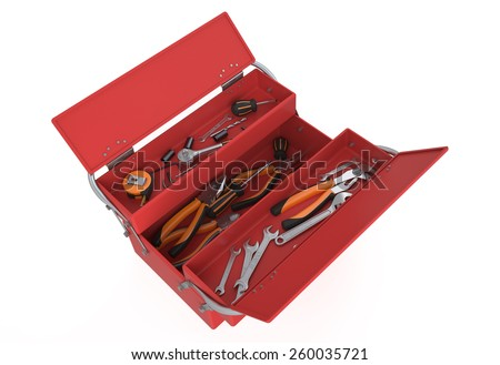 red tool box isolated on white background - stock photo