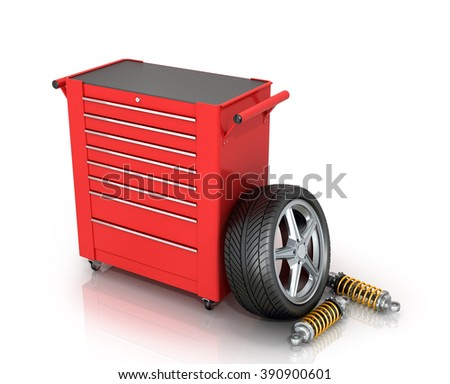 Red tool box of car parts isolated white background. - stock photo