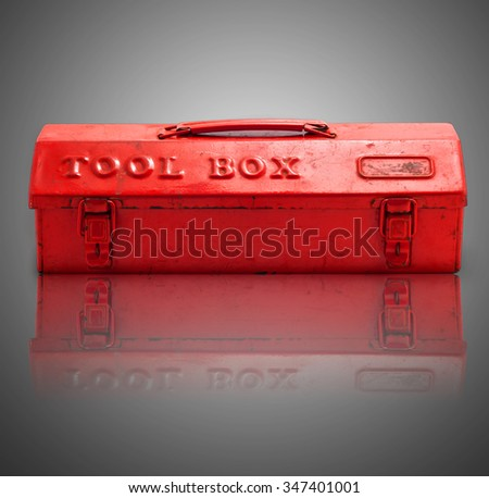 Red tool box on reflect background