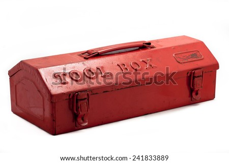 red tool box on white background - stock photo
