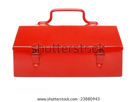Red toolbox isolated on white background - shot in studio