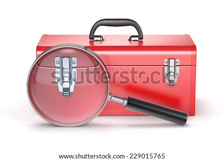 Red toolbox with magnifying glass - stock photo