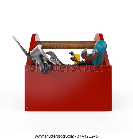 Red toolbox with tools. Sckrewdriver, hammer, handsaw and wrench. Under construction, maintenance, fix, repair, premium service. High quality 3d render, isolated.