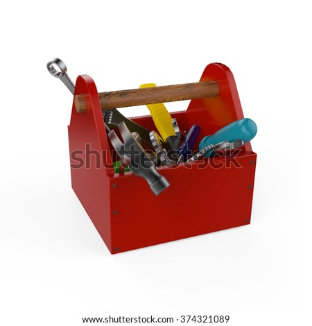 Red toolbox with tools. Screwdriver, hammer, handsaw and wrench. Under construction, maintenance, fix, repair, premium service. High quality 3d render, isolated. - stock photo