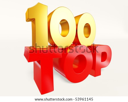 red top 100 on white background isolated - stock photo