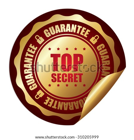 Red Top Secret Guarantee Infographics Peeling Sticker, Label, Icon, Sign or Badge Isolated on White Background