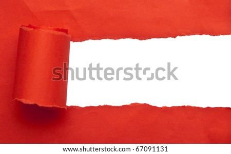 red torn paper space for text - stock photo