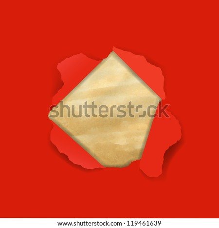 Red Torn With Old Paper - stock photo
