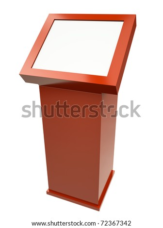 Red touch screen terminal isolated against a white background. 3D rendered image. - stock photo
