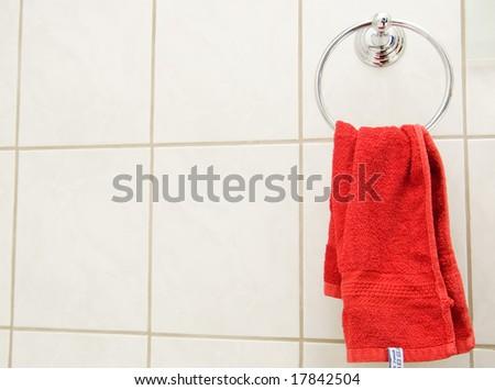 red towel closeup - stock photo