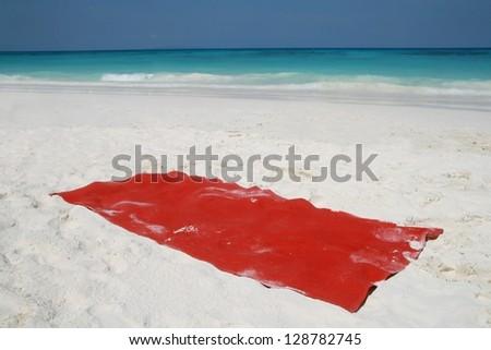 red towel on beatiful beach, Tachai island, Similan island group, Phang nga, Thailand - stock photo