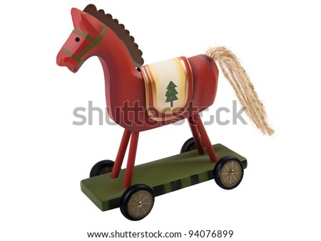 Red toy horse over white background - stock photo