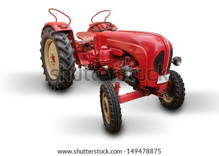 red tractor isolated on white - stock photo