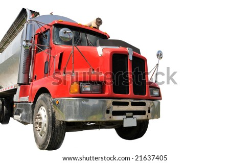 Red tractor trailer isolated on white