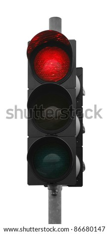 red traffic control signal isolated on white - stock photo