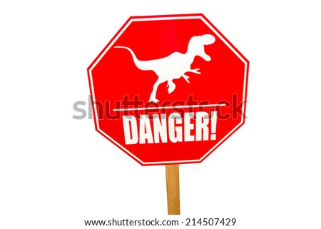 red traffic label with dinosaur pictogram - stock photo