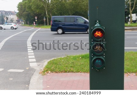 red traffic light for bicycles  - stock photo