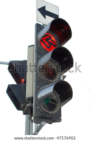 red traffic light isolated - stock photo