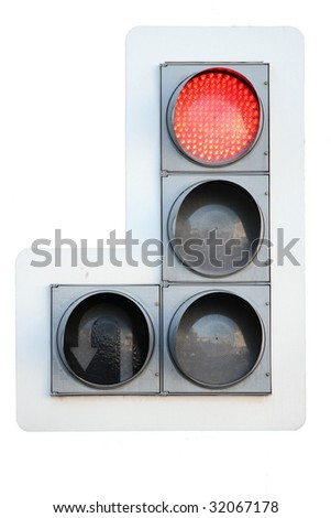 red traffic light isolated over white